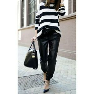 ZARA BLACK FAUX LEATHER  TROUSERS REF: 7102/154